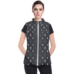 Funny Little Skull Pattern, B&w Women s Puffer Vest by MoreColorsinLife
