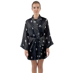 Funny Little Skull Pattern, B&w Long Sleeve Kimono Robe by MoreColorsinLife