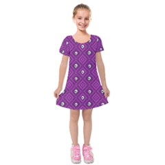 Funny Little Skull Pattern, Purple Kids  Short Sleeve Velvet Dress