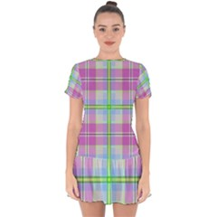 Pink And Blue Plaid Drop Hem Mini Chiffon Dress by allthingseveryone