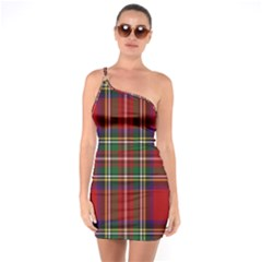 Red Tartan Plaid One Soulder Bodycon Dress by allthingseveryone