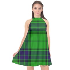 Green And Blue Plaid Halter Neckline Chiffon Dress  by allthingseveryone