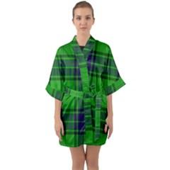 Green And Blue Plaid Quarter Sleeve Kimono Robe by allthingseveryone