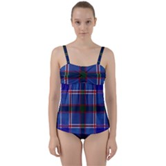 Blue Heather Plaid Twist Front Tankini Set by allthingseveryone