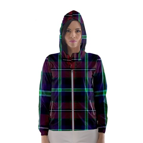Purple And Red Tartan Plaid Hooded Wind Breaker (women)
