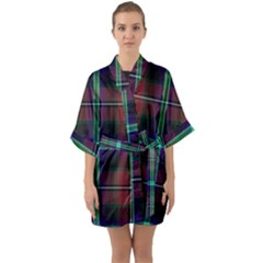 Purple And Red Tartan Plaid Quarter Sleeve Kimono Robe by allthingseveryone