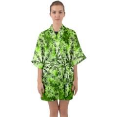 Lime Green Starburst Fractal Quarter Sleeve Kimono Robe by allthingseveryone