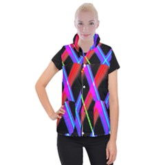 Xmas Light Paintings Women s Button Up Puffer Vest by Celenk