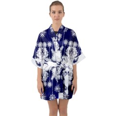 The Effect Of Light  Very Vivid Colours  Fragment Frame Pattern Quarter Sleeve Kimono Robe