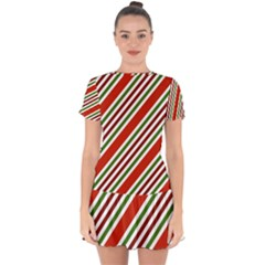 Christmas Color Stripes Drop Hem Mini Chiffon Dress by Celenk
