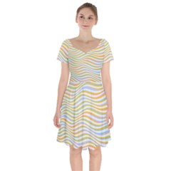 Art Abstract Colorful Colors Short Sleeve Bardot Dress by Celenk