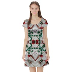 Christmas Paper Short Sleeve Skater Dress