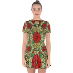 Calsidyrose Groovy Christmas Drop Hem Mini Chiffon Dress by Celenk