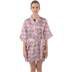 Floral Pattern Quarter Sleeve Kimono Robe