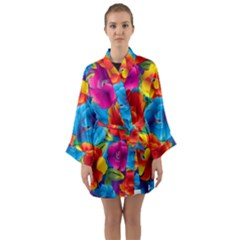 Neon Colored Floral Pattern Long Sleeve Kimono Robe by allthingseveryday