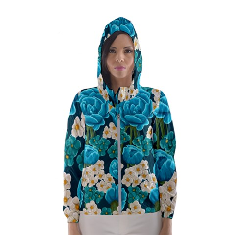 Light Blue Roses And Daisys Hooded Wind Breaker (women)