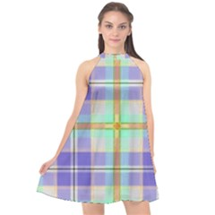 Blue And Yellow Plaid Halter Neckline Chiffon Dress  by allthingseveryday