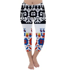Bulgarian Folk Art Folk Art Capri Winter Leggings  by Celenk