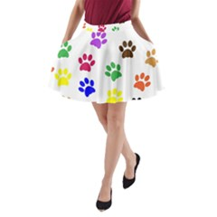 Pawprints Paw Prints Paw Animal A Line Pocket Skirt by Celenk
