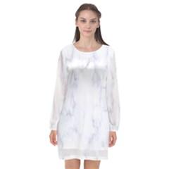 Marble Texture White Pattern Long Sleeve Chiffon Shift Dress