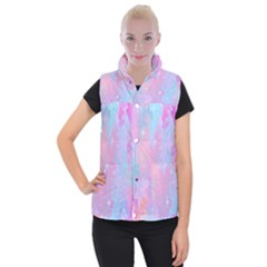 Space Psychedelic Colorful Color Women s Button Up Puffer Vest by Celenk