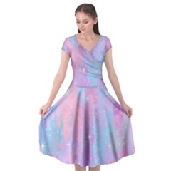 Space Psychedelic Colorful Color Cap Sleeve Wrap Front Dress by Celenk