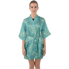 Floral Vintage Royal Frame Pattern Quarter Sleeve Kimono Robe
