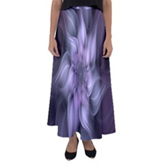 Fractal Flower Lavender Art Flared Maxi Skirt by Celenk