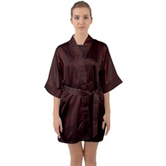 Grunge Brown Abstract Texture Quarter Sleeve Kimono Robe by Celenk
