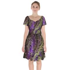 Abstract Fractal Art Design Short Sleeve Bardot Dress by Celenk