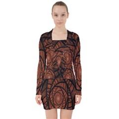 Fractal Red Brown Glass Fantasy V Neck Bodycon Long Sleeve Dress by Celenk