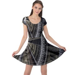 Fractal Circle Circular Geometry Cap Sleeve Dress
