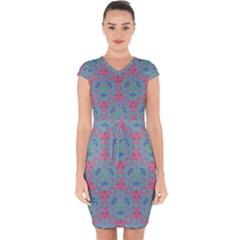 Bereket Pink Blue Capsleeve Drawstring Dress  by Cveti