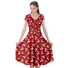 Red Reindeers Cap Sleeve Wrap Front Dress by patternstudio