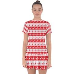 Knitted Red White Reindeers Drop Hem Mini Chiffon Dress by patternstudio