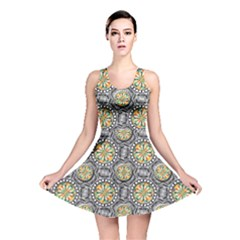 Beveled Geometric Pattern Reversible Skater Dress by linceazul
