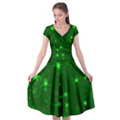 Blurry Stars Green Cap Sleeve Wrap Front Dress by MoreColorsinLife