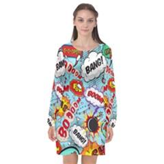 Comic Pattern Long Sleeve Chiffon Shift Dress