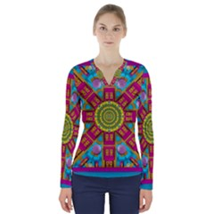 Sunny And Bohemian Sun Shines In Colors V Neck Long Sleeve Top by pepitasart