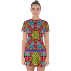Sunny And Bohemian Sun Shines In Colors Drop Hem Mini Chiffon Dress by pepitasart