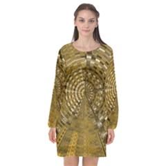 Gatway To Thelight Pattern 4 Long Sleeve Chiffon Shift Dress