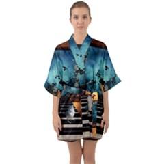 Music, Piano With Birds And Butterflies Quarter Sleeve Kimono Robe