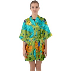 Colorful Dragons Pattern Quarter Sleeve Kimono Robe by allthingseveryday