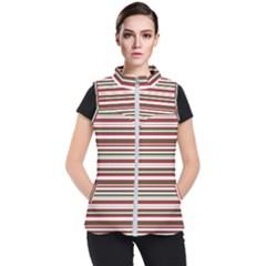 Christmas Stripes Pattern Women s Puffer Vest by patternstudio