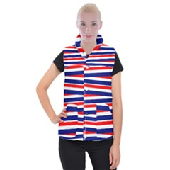 Red White Blue Patriotic Ribbons Women s Button Up Puffer Vest by Celenk