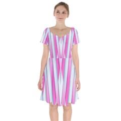 Geometric 3d Design Pattern Pink Short Sleeve Bardot Dress