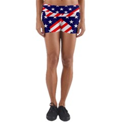 Patriotic Usa Stars Stripes Red Yoga Shorts by Celenk