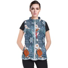 Funny Santa Claus With Snowman Women s Puffer Vest by FantasyWorld7