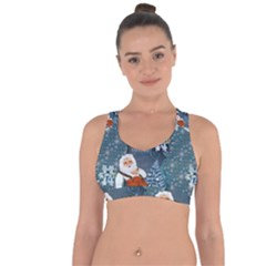 Funny Santa Claus With Snowman Cross String Back Sports Bra by FantasyWorld7