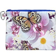 Butterflies With White And Purple Flowers  Canvas Cosmetic Bag (xxxl) by allthingseveryday
